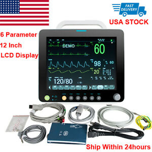 "Portable 12"" Vital Signs Patient Monitor 6 Parameter ECG NIBP RESP TEMP SPO2 PR"