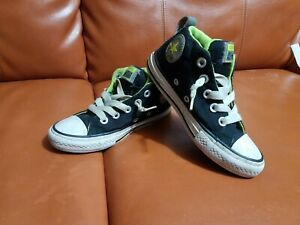 Details about Converse All Star High Street Sneakers Black Lime Green High Top Juniors US 12
