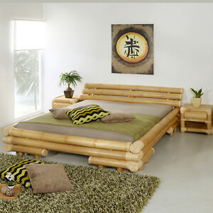 bambusbett 200x200 palau rattan bettgestell bettrahmen holzbett futonbett bett ebay. Black Bedroom Furniture Sets. Home Design Ideas
