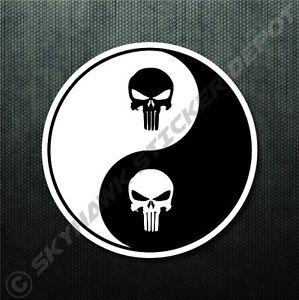 Punisher skull yin yang sticker vinyl decal gun molon labe self image is loading punisher skull yin yang sticker vinyl decal gun publicscrutiny Gallery