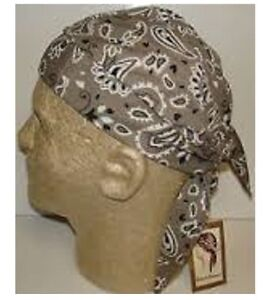 0d5a9ccf353 KHAKI TAN PAISLEY FITTED Bandana Ties Tied Skull CAP Do DOO RAG ...