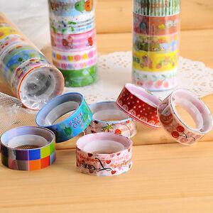 10Pcs Sticky Adhesive Sticker Decorative Washi Tape Colorful DIY Funny Tool Hot