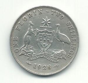 Australia-Silver-Coin-1-Florin-2-Shillings-1928-King-George-XF-Rare-Grade