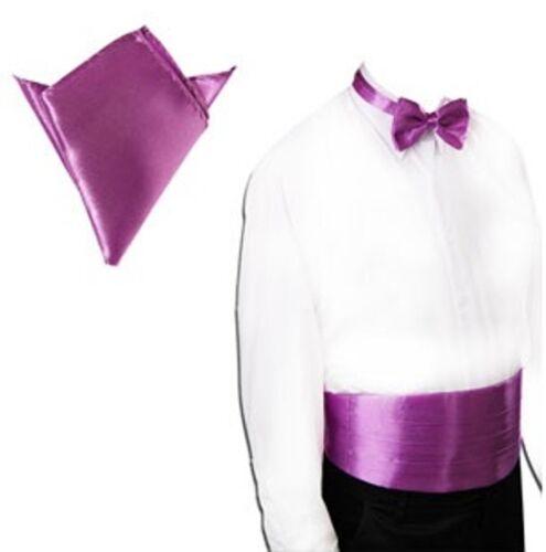 3tlg Set Men/'s Cummerbund Bow Tie Handkerchief Business Suit Wedding