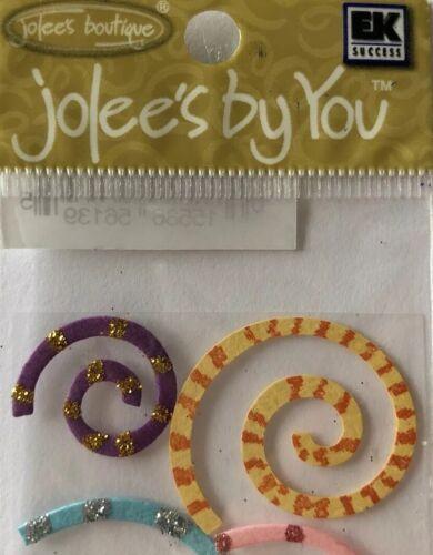 Jolee/'s •Glitter•Stripes•Polka-Dot•Round•Teens FUNKY SPIRALS Embellishments 9pc