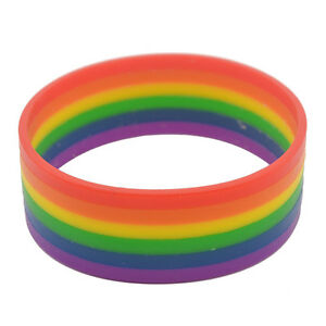 Silicone-Rainbow-Gay-Pride-LGBT-Lesbian-Bracelet-Colorful-Soft-Wristband-Bangle