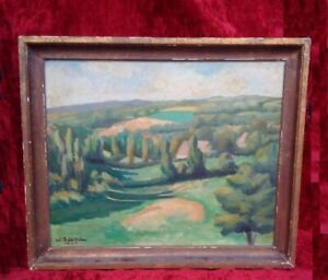 Rare-grand-tableau-paysage-Art-Deco-huile-sur-toile-signee-1929