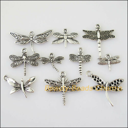 30Pcs Antiqued Silver Tone DIY//Animal Dragonfly Mixed Charms Pendants