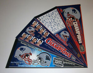 4-2004-New-England-Patriots-Super-Bowl-XXVIII-pennants-lot-SB-38-Tom-Brady