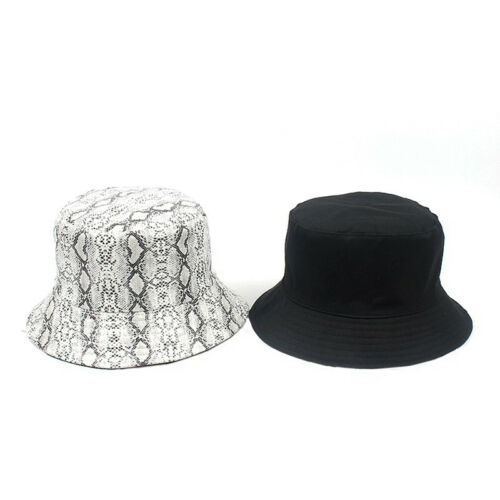 Women Men Bucket Hat Snake Print Sunshade Fishing Fisherman Bob Hat Double S dX