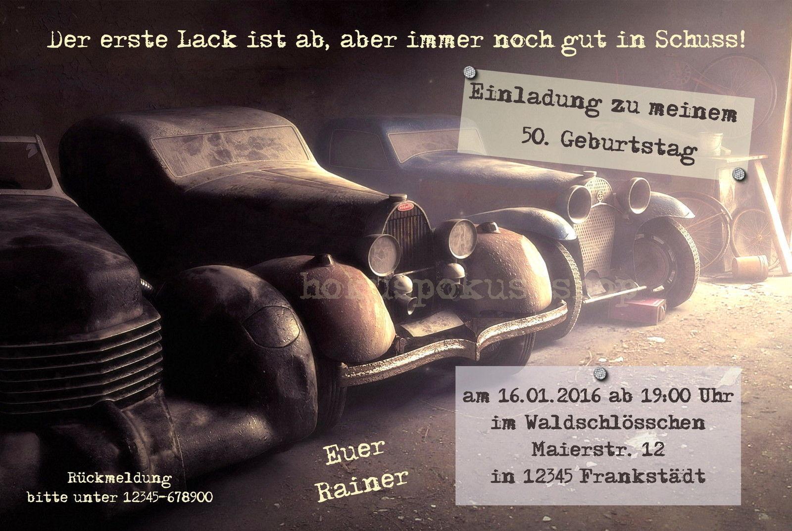 Einladungskarten Geburtstag Oldtimer Mercedes VW Bulli Bus Einladungen 40 40 40 50 60 | Marke  | Starker Wert  63c5a8