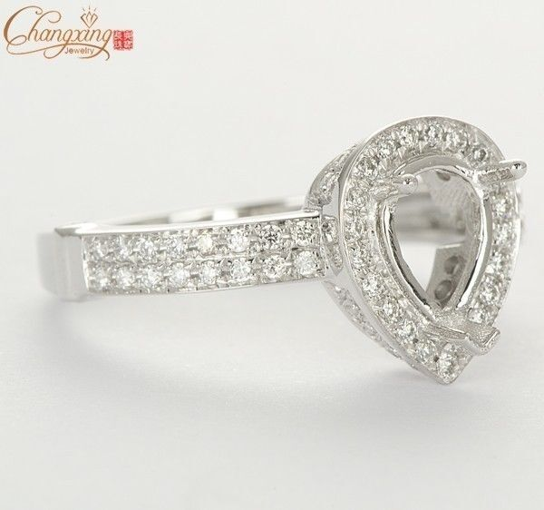 14k White gold 6x8mm Pear Shape Natural 0.6ct Pave Diamond Semi Mount Ring