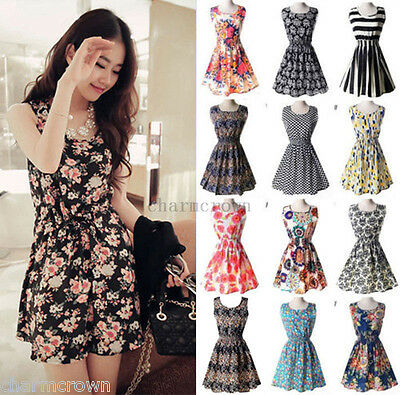 Women Beach Chiffon Sleeveless Summer Floral Pleated Tank Mini Dress Sundress