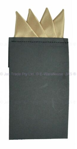 Men Satin Formal Church Wedding Funeral Jacket Blazer Handkerchief Pocket Square