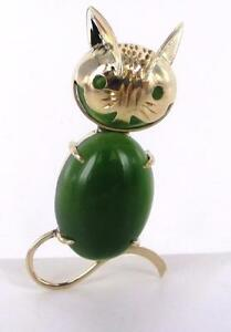 14KT-SOLID-YELLOW-GOLD-LUCKY-JADE-KITTY-CAT-BROOCH-PIN-990059768