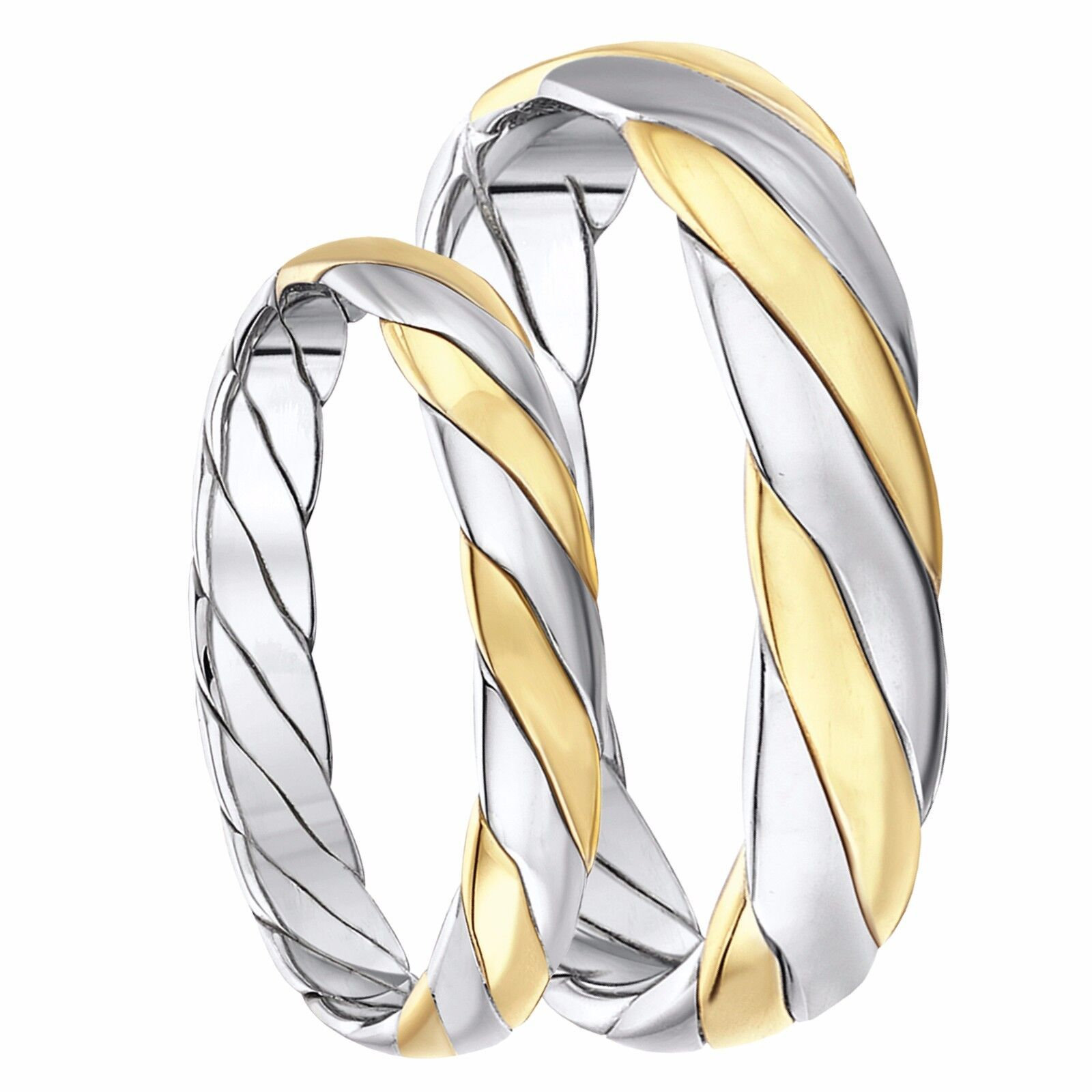 9ct Two-Colour gold Hand Made Wedding Rings 4mm & 5mm Box Set