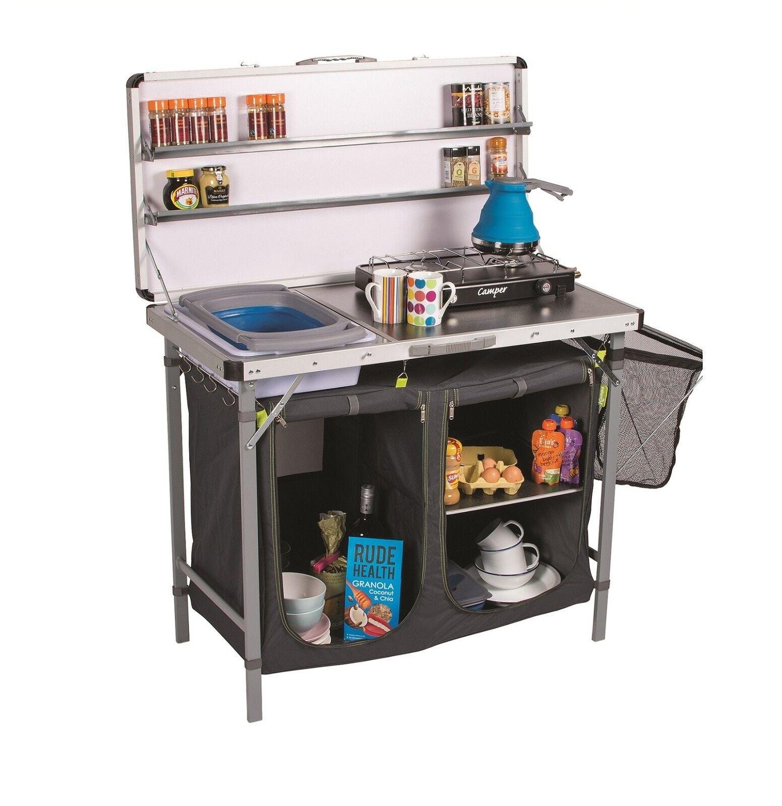 s l1600 - Extra Grande Plegable Acampada Campo Cocina con Incorporado Lavabo Es Cacique