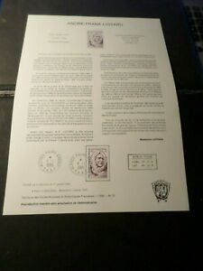 TAAF-DOCUMENT-NOTICE-FDC-1985-timbre-111-ANDRE-FRANK-LIOTARD-CELEBRITY