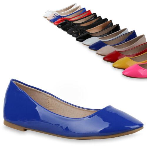 Damen Ballerinas Lack Slipper Schuhe Flats Leder-Optik 814756 Trendy