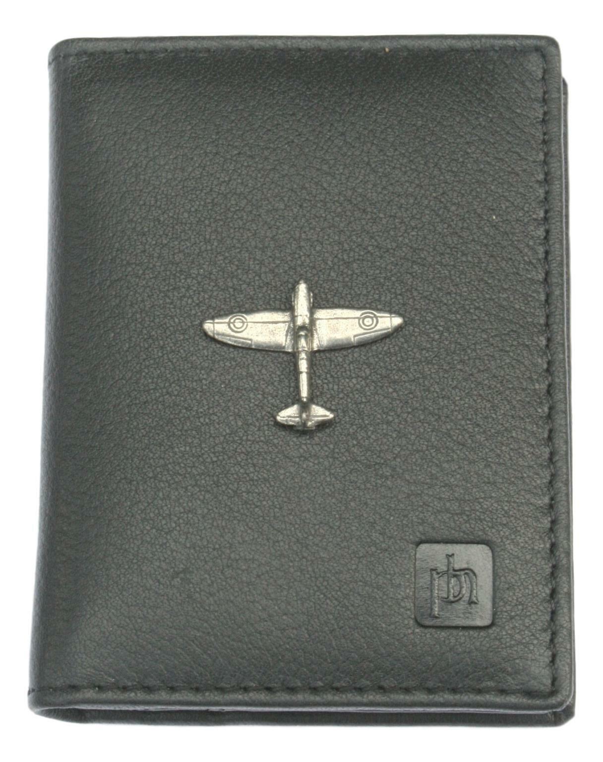 Spitfire doble pliegue soporte tarjeta cartera De Cuero Negro RFID Safe 342