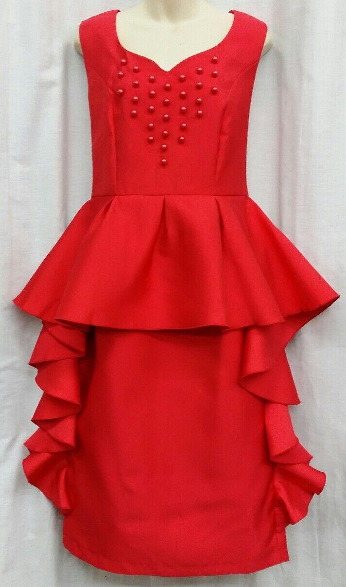 DRESSES BY NUBIANO Dress Dress Dress 16 Red Peplum Beaded Sleeveless Sunday Church Lined ff6c27