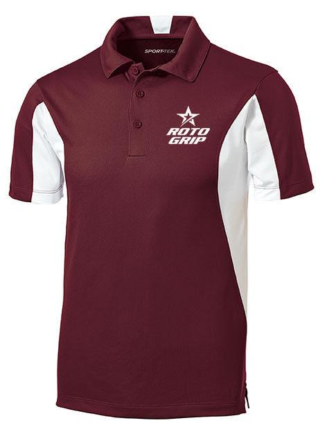 redo Grip Men's Loco Performance Polo Bowling Shirt Dri-Fit Maroon White