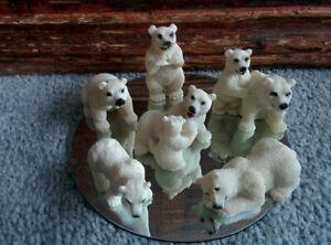 Vintage-1990s-Polyresin-Miniature-POLAR-BEAR-Figures-set-of-7-Plus-Mirror-base