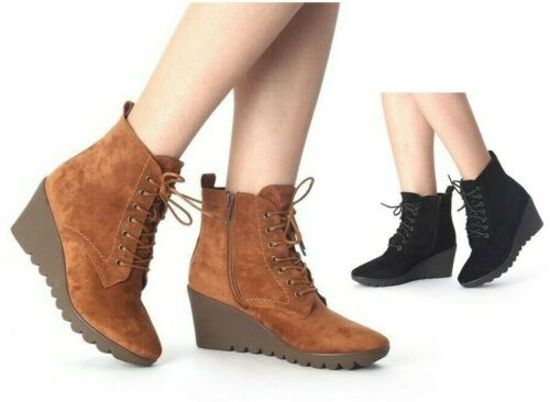 LADIES WOMENS ANKLE WEDGE LACE UP FAUX SUEDE MID HEEL WINTER BOOTS SHOES SIZE