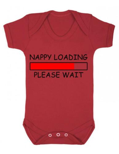 "Baby Bodysuit Funny /"" Nappy Loading .. Please Wait/""  Funny Quote Baby Grow"