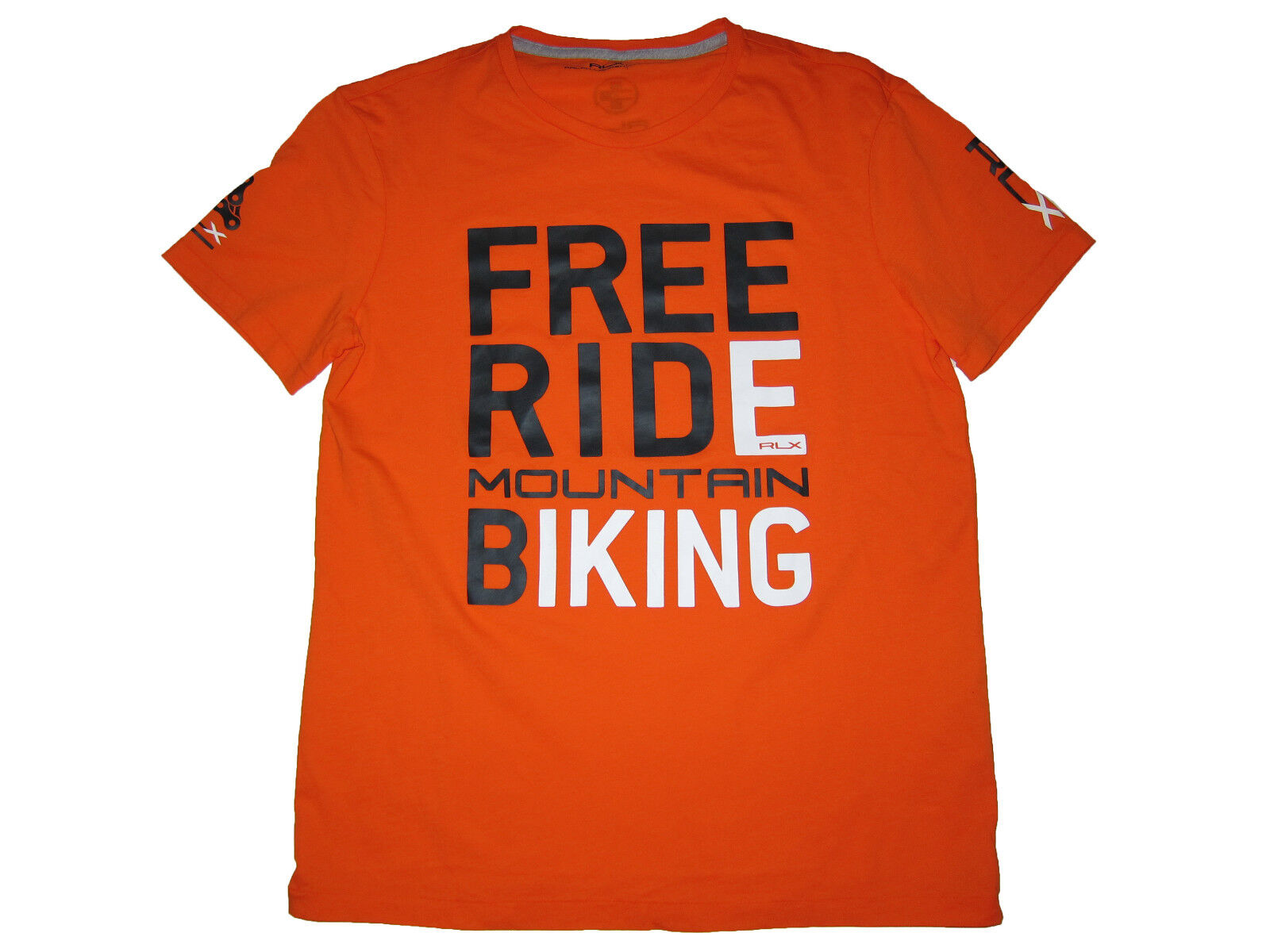 RLX Ralph Lauren orange Free Ride Mountain Bike Neon Polo T Shirt Medium
