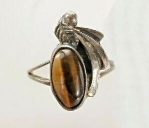 Vintage-Navajo-Native-American-Tiger-039-s-Eye-925-Sterling-Silver-Ring-Sz-6-5