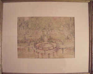 """GORGEOUS"""" FORMAL GARDENS"""" EARLY 20TH CENTURY OLD TURNER FRAME ACID FREE MAT"""