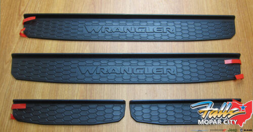 2018 Jeep Wrangler JL Black Plastic Front and Rear Door Sill Guards Mopar OEM