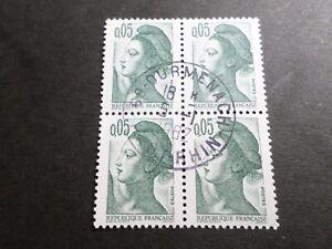 FRANCE BLOC timbres 2178 LIBERTE' DELACROIX, oblitéré 1982 cachet rond, QUARTINA