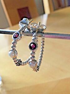 Details About Michael Dawkins Sterling Silver 0 50 Ct Red Garnet Pearl Hoop Earrings