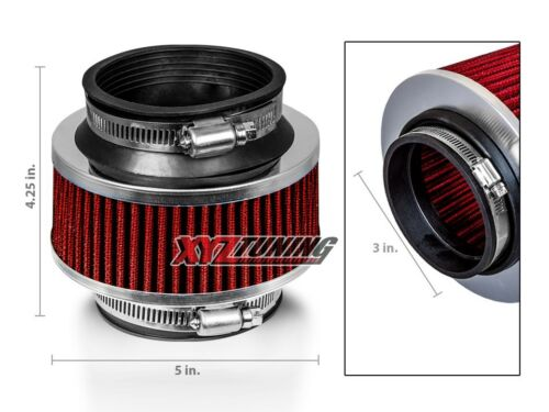 """3/"""" RED Performance High Flow Cold Air Intake Bypass Valve Filter Hydro Lock"""