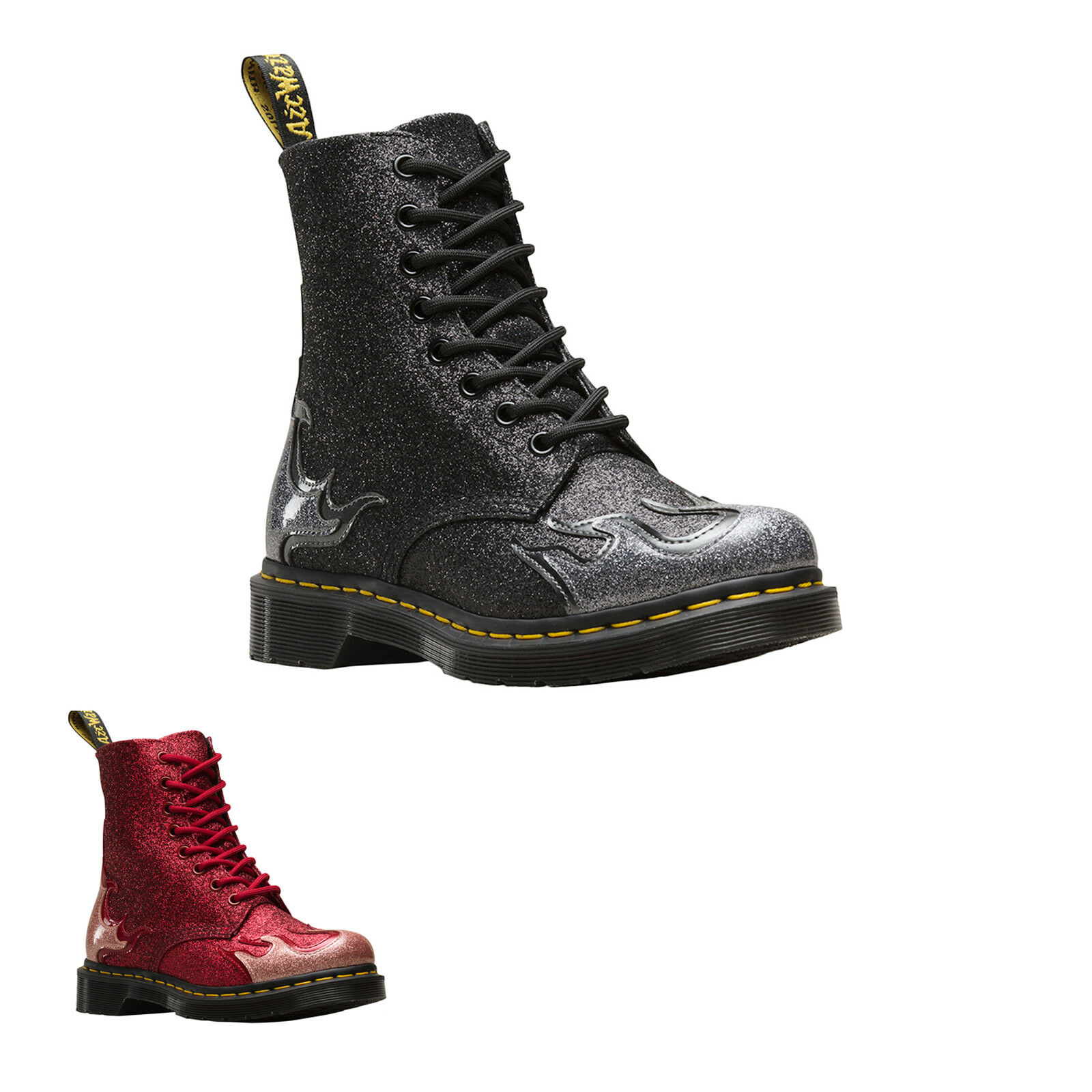 Dr. Martens 1460 PA Flame Synthetic Glittery Lace-Up Bottines Bottes Femmes