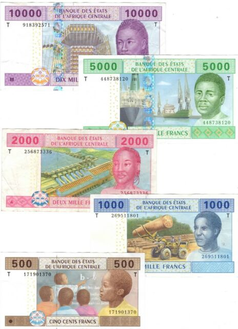 CONGO Full Set 500 1000 2000 5000 10000 Central African Francs (2002) P-106-110T