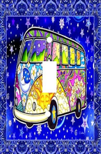 Decorative Decoupage Light Switch Covers Made to Order Retro Hippie Bus