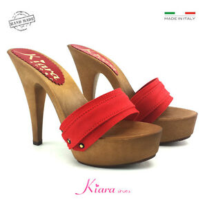 Clogs Red - Base Mou - Shoes Made in Italy 35 AL 42 - Heel 13