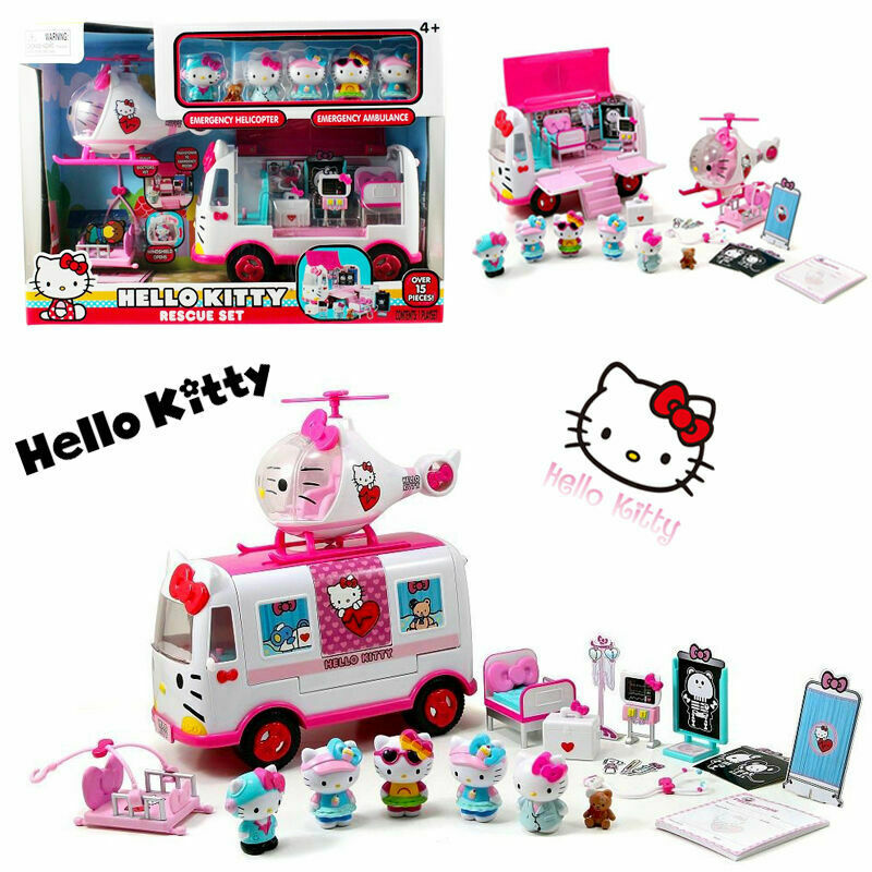 Sanrio Hello Hello Hello Kitty Rescue Set Pretend Play Doll Girls Helicopter Van Vehicle Toy c41985
