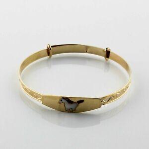 Kinderschmuck-585er-Gold-Armreifen-Armband-Pferd-14-Karat-Poliert-Maedchen-Junge