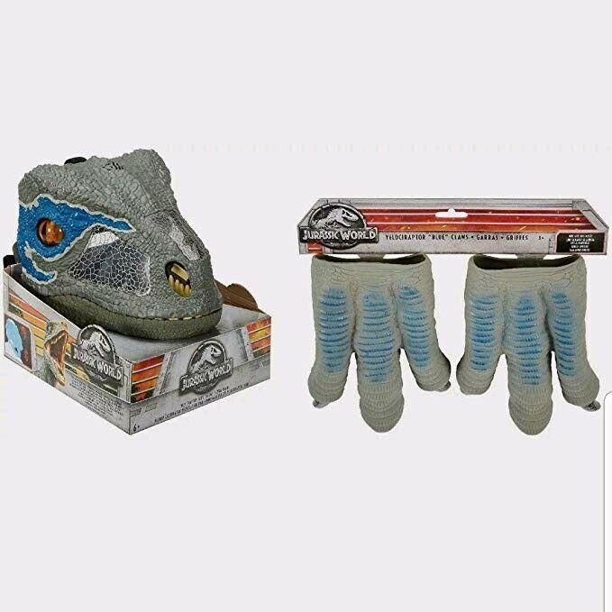 New Jurassic värld Velociraptor blå Chomp N Roar Mask och Velociraptor blå Claws
