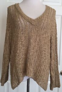 Chicos-Gold-V-Neck-Sweater-Metallic-Threads-Open-Knit-Chico-039-s-Size-2-Large