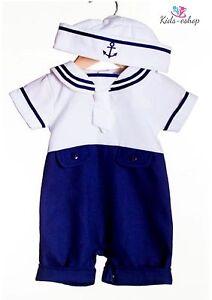 8cc11d0fcb61 Baby Boy Sailor White Navy Romper Suit Grow Summer Outfit 1M-6 M ...