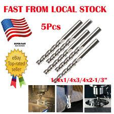 "5Pk HSS 4-Flute End Mill Cutter CNC Milling Machine Straight Shank Bit 1//4/""x1//4/"""