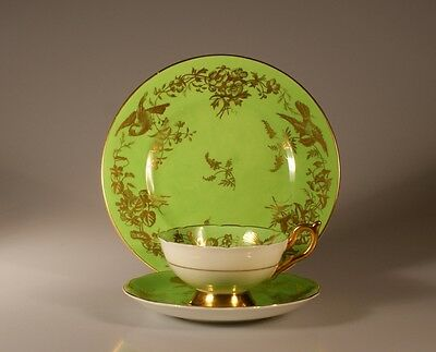 Coalport Lime Green and Gold Birds and Flowers Trio, England