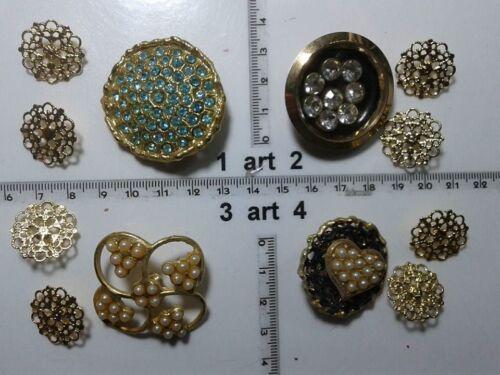 1 lotto bottoni gioiello strass smalti perle vetro buttons boutons vintage g13