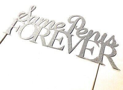 Silver Glitter Same Penis Forever Cake Topper Hen do Stag Do