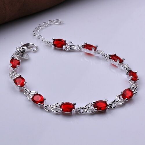 18K White Gold Plated Oval Ruby Tennis Fashion Bracelet For Women 7.5/'/' Cttw 7.7